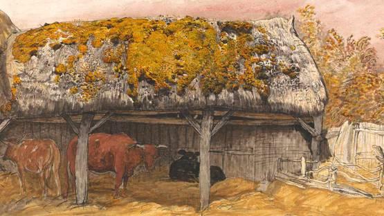 Samuel Palmer - A Cow Lodge with a Mossy Roof (detail), photo via Wikimedia