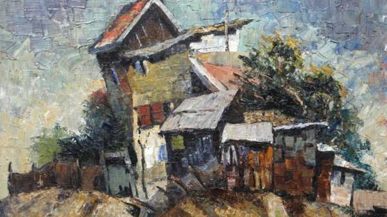Samuel Zulkis - House on a Hill, 1953 (detail)
