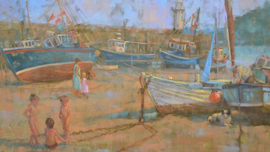 Sheila Tiffin - Children Playing, St Ives Harbour, 1986 (detail)