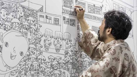 Shintaro Miyake - Photo of the artist at work - Image via cgtn