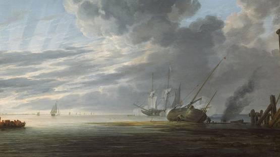Simon de Vlieger - Seascape in the Morning (detail), ca. 1643, photo via wikipedia org