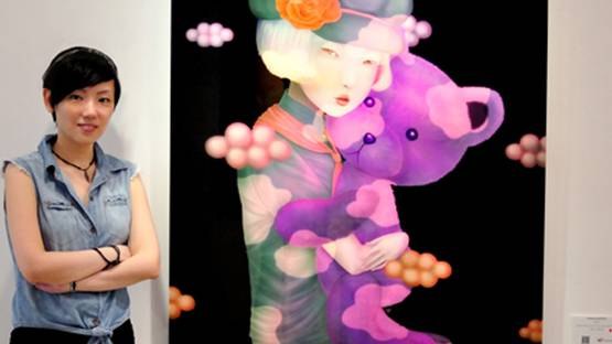 Sonya Fu next to Forever and Ever - image copyright of the artist