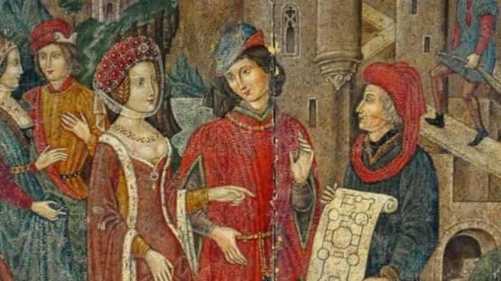 "Spanish Forger - The Chatelaine ""Couple venant verifier l'avancee des travaux"", Late 19th Century-Early 20th Century (detail)"
