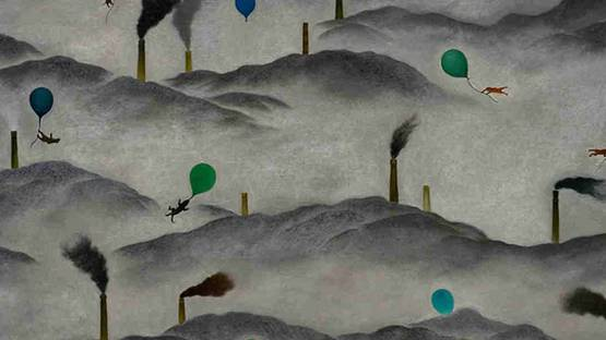 Su Wong-Shen - Among the Mountains (detail), 2010, Oil on canvas, Collection of Ching Chung Tan, photo via cafa com cn