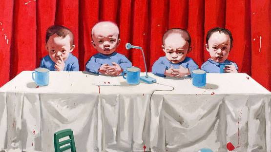 Tang Zhigang - Children in Meeting (detail). Image via AkzoNobel Art Foundation
