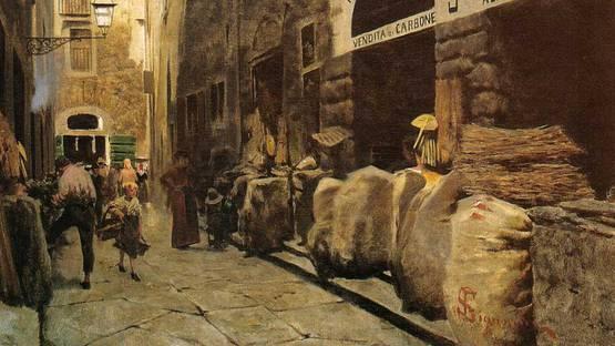 Telemaco Signorini - La Via del fuoco, 1881, detail from the photo by Wikipedia