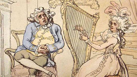 Thomas Rowlandson - The Dull Husband (detail), 1789 Hand Col Etching, photo credits Albion Prints