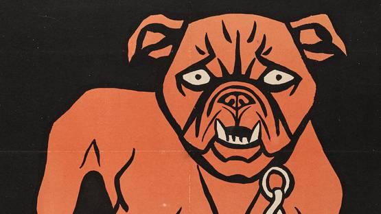 Thomas Theodor Heine - Simplicissimus Bulldog (Mops-Plakat), 1896 (deail) - image via bonhamscom