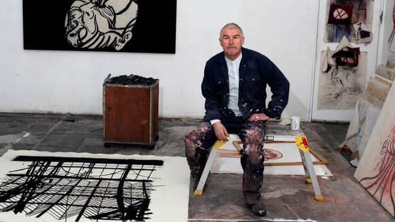 Tony Bevan - Portrait of the artist in his studio (Detail), photo credits RoyalAcademy.org.uk