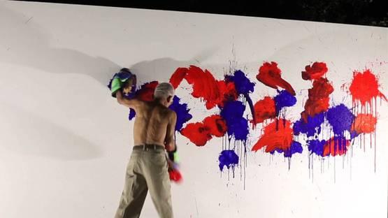 Ushio Shinohara - Boxing Painting Performance at the DMA, photo via youtube