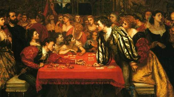 Valentine Cameron Prinsep - A Venetian Gaming-House in the Sixteenth Century (detail), photo credits The Dolphin Gallery