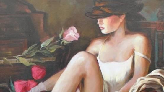 Vladimir Petrov - Elégantes aux roses(detail)
