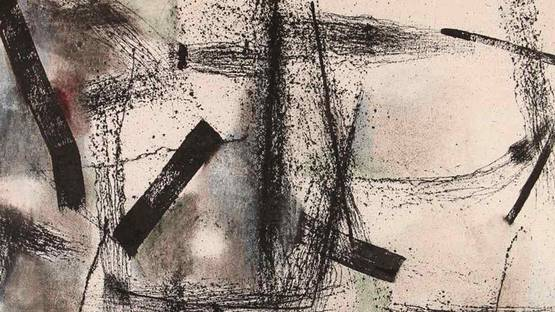 Waichi Tsutaka -  Untitled Abstraction (Detail), 1957 - image via liveauctioneerscom