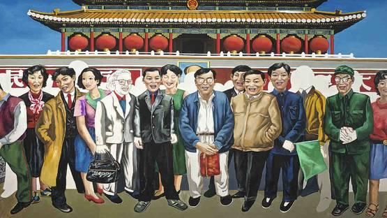Wang Jinsong -  TAKING A PICTURE IN FRONT OF TIANANMEN SQUARE, photo via mutualart.com