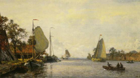 Willem Bastiaan Tholen - Riverscape With Sailing Boats (detail)
