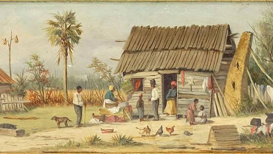 William Aiken Walker - Untitled  (Family Outside of a Cabin), detail
