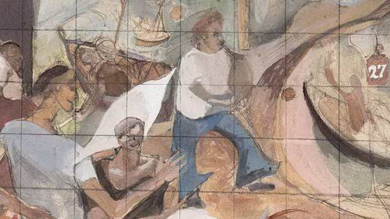 William Gillies - Piping in the harbour - image courtesy of Christies