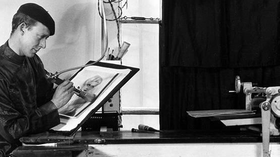 William Mortensen - Portrait of the artist with Electri Bromoil Apparatus (detail), photo credist Vice