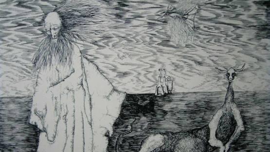 Wolfgang Langmandel - Der Eremit (The Hermit), 1970 (detail)