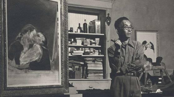 Yasuo Kuniyoshi in his New York studio in 1940