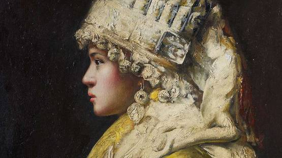 Zhang Li - Portait of a Girl with a Headdress (detail), photo via archimboldo cz