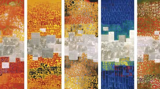 Zhou Changjiang - Paris Match, 5 panels (detail)