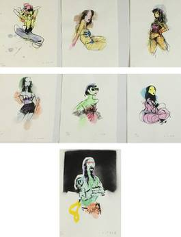Anthony Lister - Red Head; Lean Back Girl; Frilly Fix; Blue Dancer; Masked Maiden; Stripper I; Boat Ramp Man, 2014
