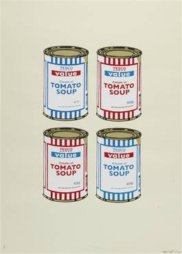 Banksy - 4 Soup Cans - Blue and Red on Cream, 2006