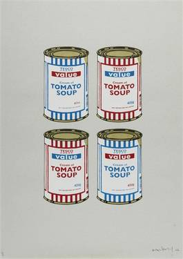 Banksy - 4 Soup Cans, Red and Blue on Grey, 2006