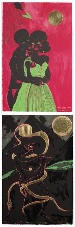 Chris Ofili - Afro Lunar Lovers I and II, 2005