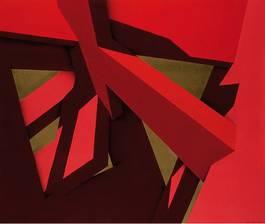 Jan Kalab -Cervena kompozice nazlatem pozadi, 2012