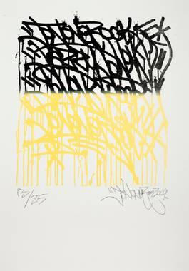 JonOne - Composition en noir et jaune, lot 806