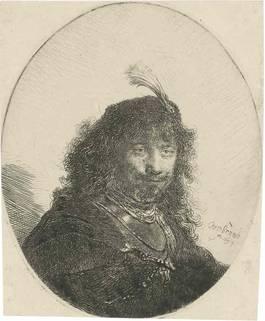 Rembrandt van Rijn - Self Portrait With Plumed Cap And Lowered Sabre, 1634
