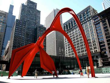 Alexander Calder - Flamingo, Federal Plaza in front of the Kluczynski Federal Building in Chicago 1974