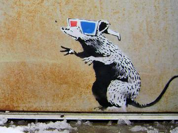 Banksy - 3D Glasses Rat, Park City, Utah, 2010
