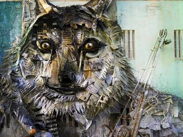 Bordalo II - Wolf (detail) - Fundao, Portugal