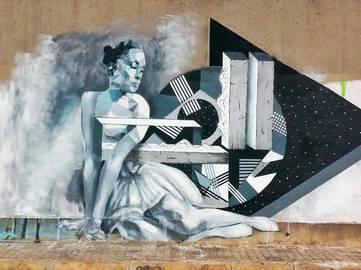 Irene Lopez Leon - The Dancer, Mural combo with Uriginal