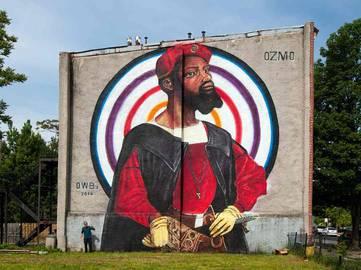 OZMO - Portrait of a black man - Open Walls 02, Baltimore, US, 2014