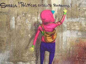 Os Gemeos - Smile! Politicians are robbing you! (detail) - Sao Paulo, Brazil, 2016