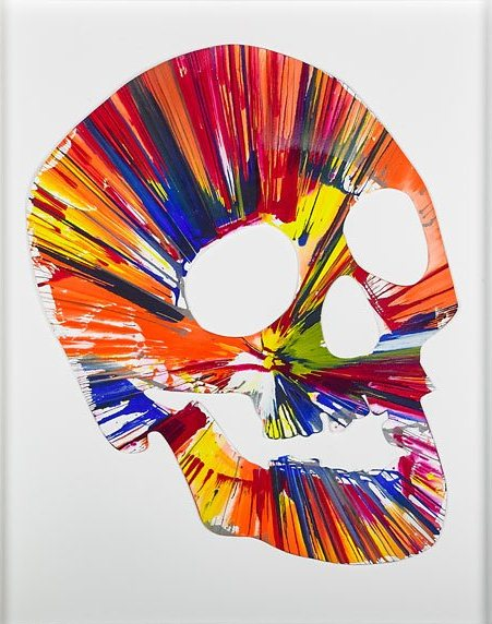 Skull Spin Painting Created At Damien Hirst Spin Workshop Widewalls
