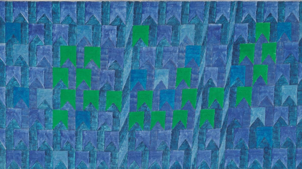 Alfredo Volpi - Untitled (Bandeirinhas com Mastros no Azul), circa 1960