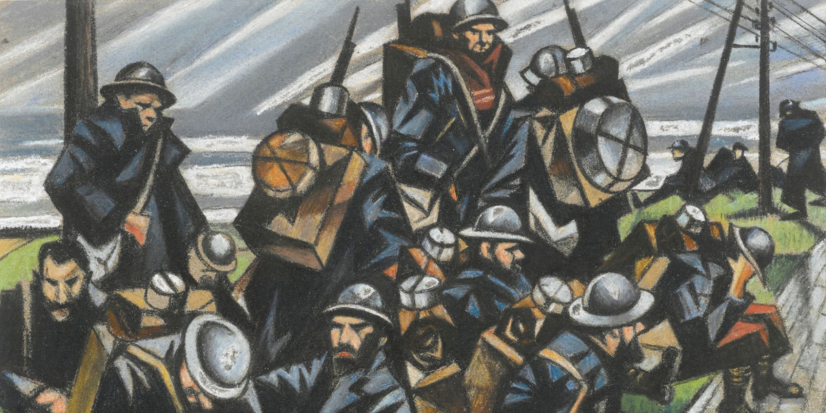 Christopher R. W. Nevinson - Troops Resting (detail), 1916