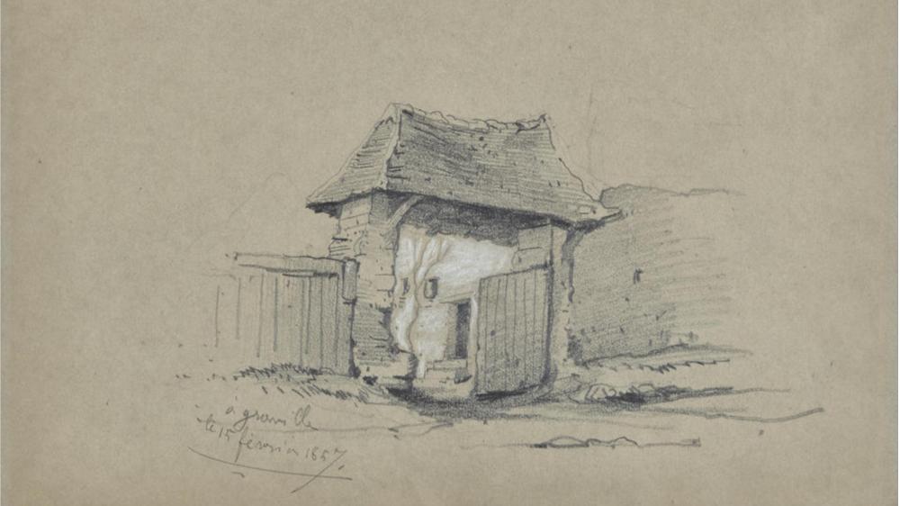 Claude Monet - Portail de ferme, 1857 (detail)