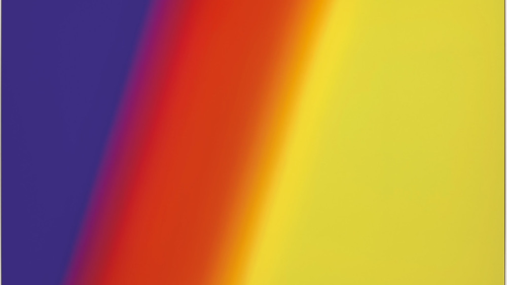 Cory Arcangel - Photoshop Cs 72 By 110 Inches, 300 Dpi, Rgb, Square Pixels, Default Gradient Blue, Red, Yellow, Mousedown Y=11050 X=3350, Mouseup Y=16300 X=19900, 2009 (Detail)