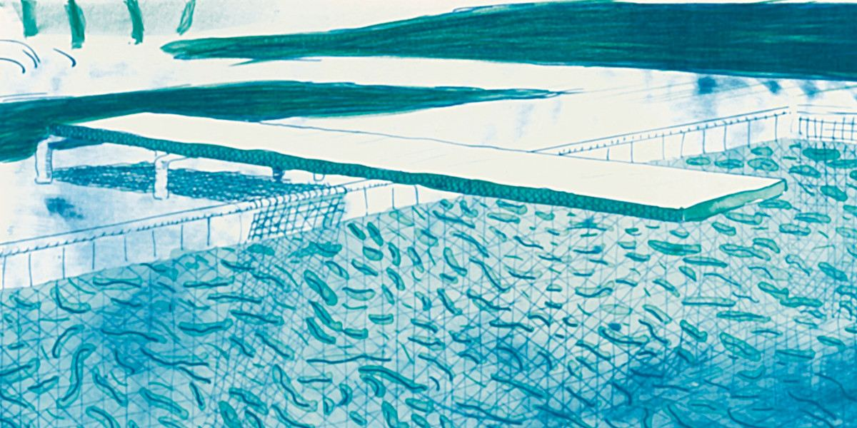 David Hockney - Lithograph Of Water Made Of Lines, A Green Wash, And A Light Blue Wash (Mca Tokyo 205) (Detail)