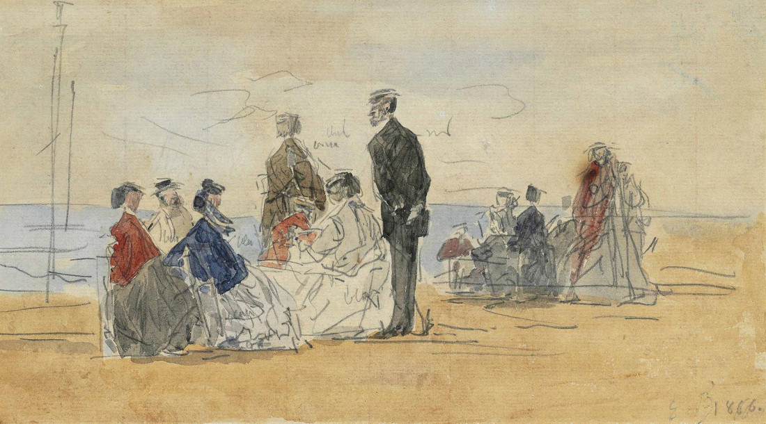Eugene Louis Boudin - Scene De Plage, 1866 (Detail)