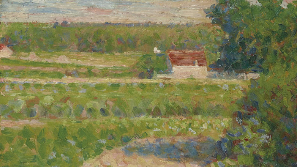Georges Seurat - La Maison Au Toit Rouge, circa 1883 (Detail)