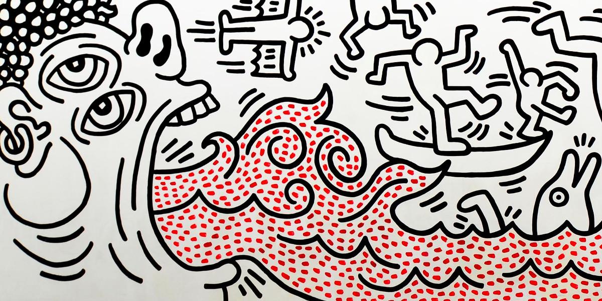 Keith Haring - Channel Surf Club, Knokke, 1987 (detail)