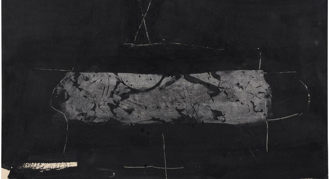 Manolo Millares - Composition Noir Et Gris Fonce, 1960 (Detail)