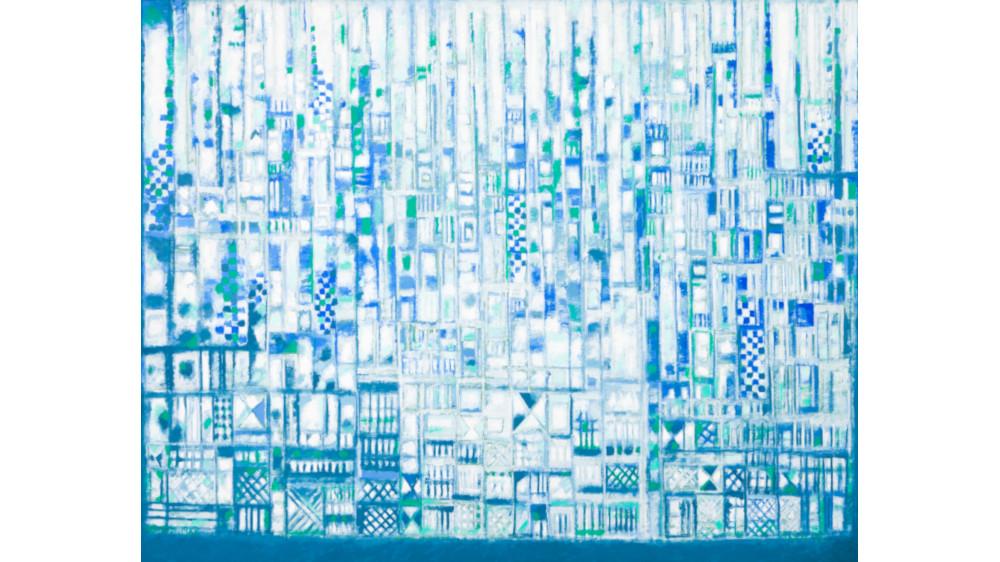 Manuel Cargaleiro - La Ville Bleu-Verte Pres De Leau Et Du Silence, 1988 (Detail)
